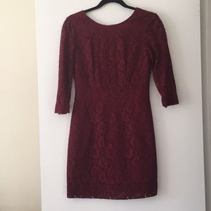 Merona Red Embroidered Long Sleeved Dress